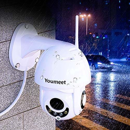 Youmeet WiFi IP Security Camera – 1080P Outdoor Waterproof Wireless PTZ Camera with Night Vision,CCTV Home Surveillance Cameras,2 Way Audio Motion Detection,for Backyard/Office/Shop/School/Hospital
