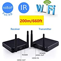 MEASY FHD686 2.4G/5.8G Wireless 2T2R Multi-Channel HDMI Extender up to 200m (600ft) 1080P with Front Channel Pannel and Pass Through Function…