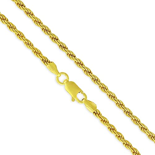925 Sterling Silver 2.5mm Solid Figaro Gold Plated ITProLux Chain Necklace