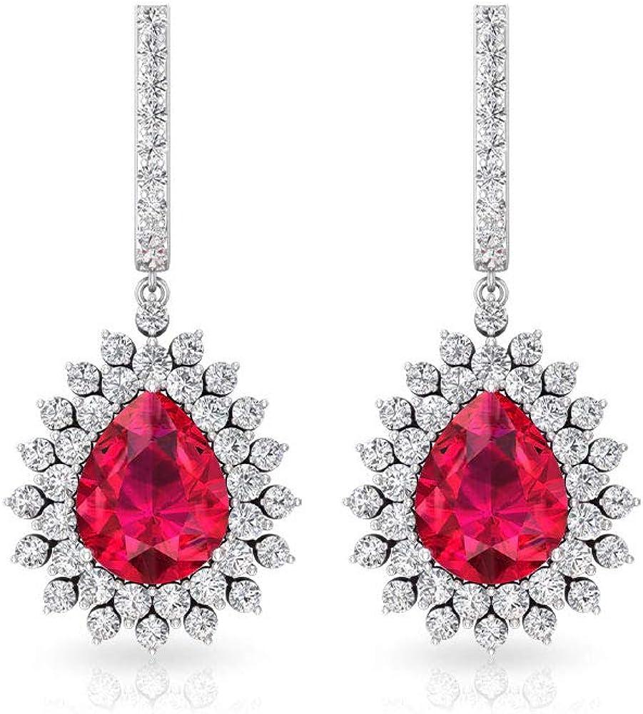 Pendientes de cristal de 3,7 quilates con rubí Moissanite Huggies, certificado SGL, con piedras de nacimiento de julio para mujeres, pendientes colgantes de oro para novias, con clip.