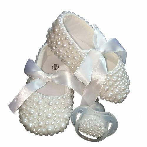 Dollbling bautizos Hecho a Mano Blanco Perlas Zapatos de ...