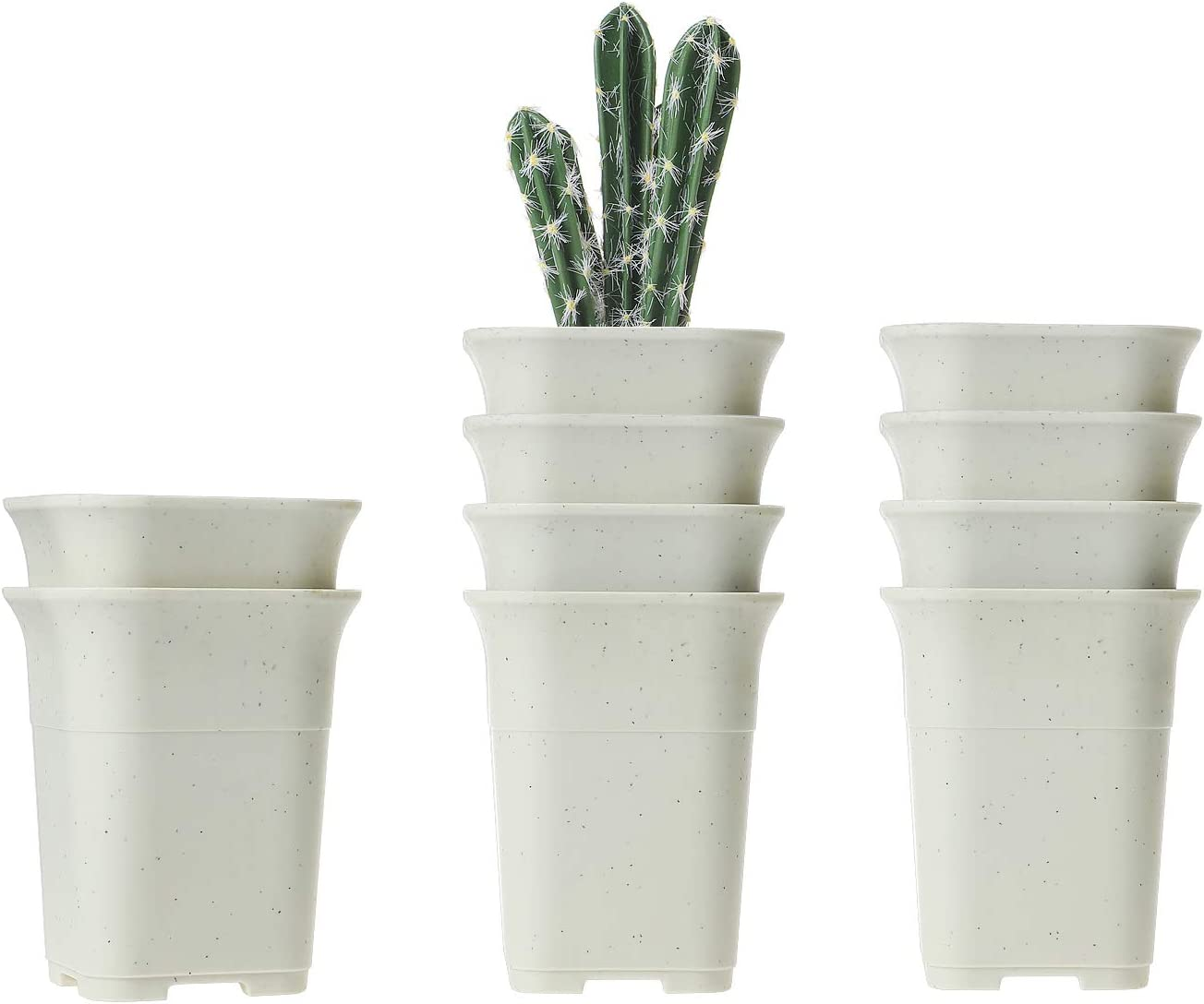 T4U 8CM Macetas Cactus de Vivero Plastico Paquete de 10, Maceteros Pequeños para Suculento Plantas Cuadrada Casa y Jardin Boda Decorativos Interior