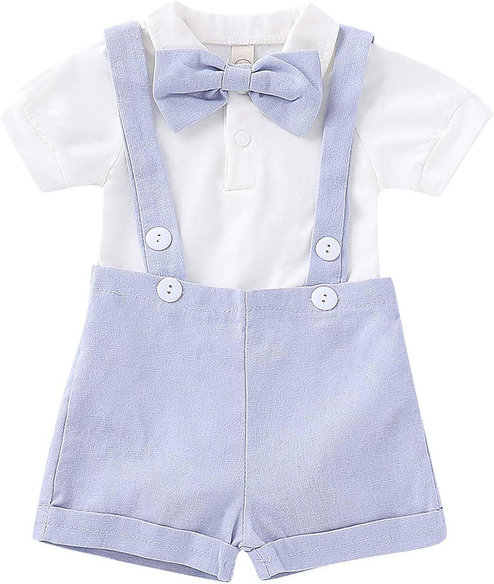 Borlai 2 Pezzi/Set Baby Boy Gentlemen Suit Pagliaccetto Moda + Shorts Bretelle...