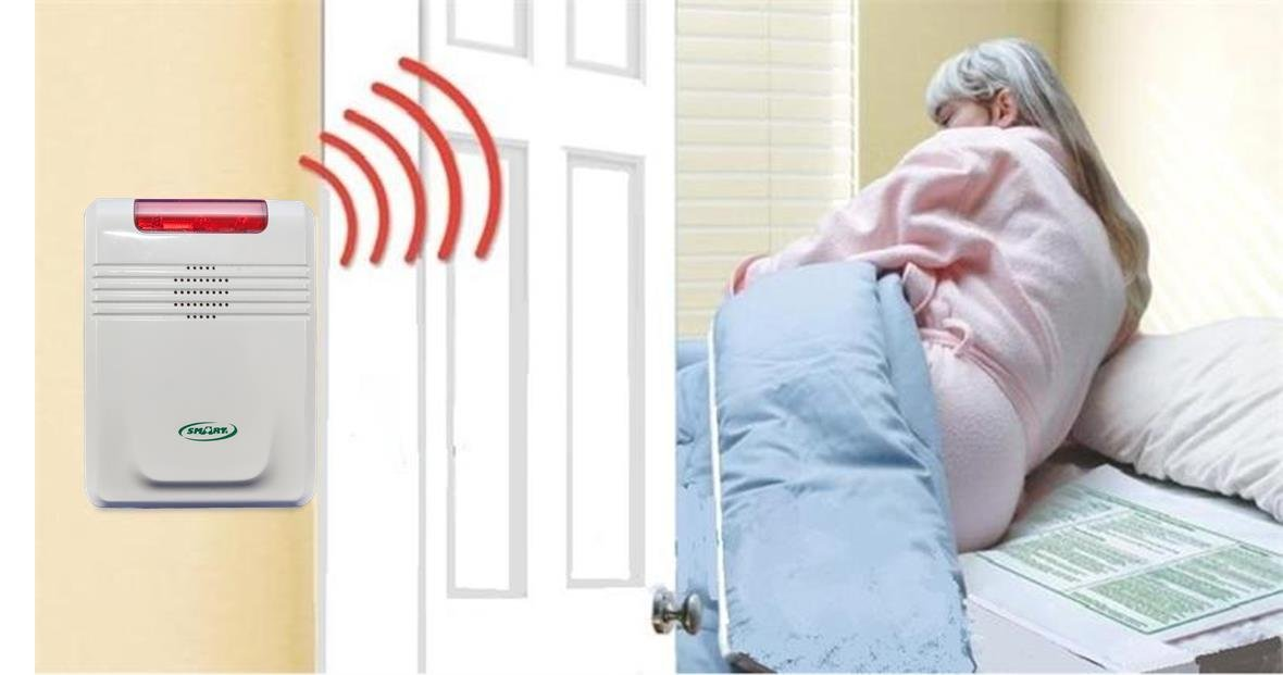 Cordless Bed Alarm System - No Alarm in Patient Room - Plus Kerr Medical Pad Cleansing Wipes