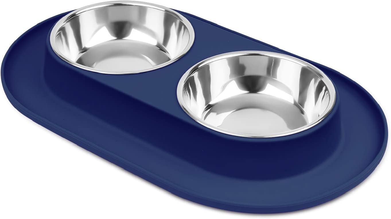 Flexzion Double Dog Bowl Feeding Station, Skid Proof Silicone Base with Spill Proof Raised Lip & Two 12oz Stainless Steel Bowls for Food and Water, Ideal for Small to Medium Size Dogs Cats Pet