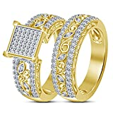TVS-JEWELS Anniversary Ring Bridal Set With Prong Setting Round Cut Cubic Zirconia 14k Gold Plated (6)