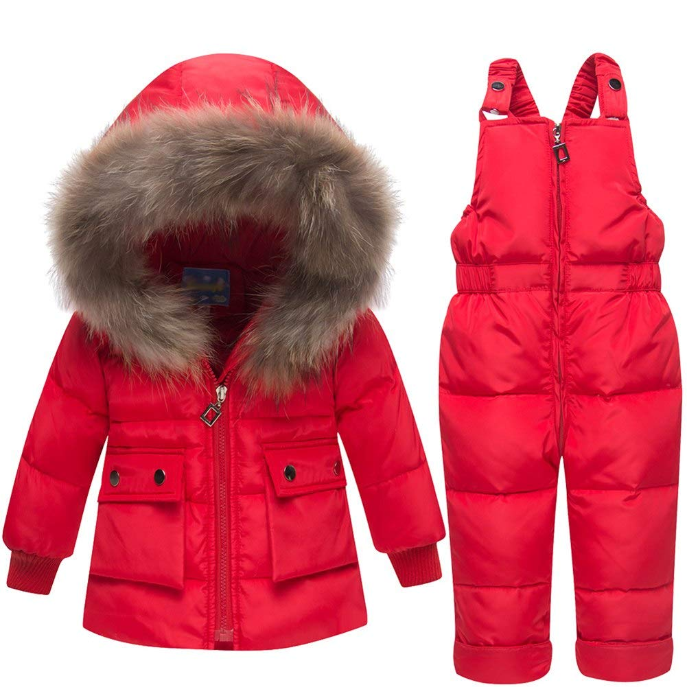 Happy childhood Baby Boys Girls 2PCS Thicken Down Snowsuits Warm Hooded Faux Fur Jacket with Warm Bib Pants Winter Overalls HC-COAT-69