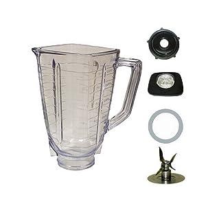 5 Cup Plastic Square Complete Blender Jar Fits Oster