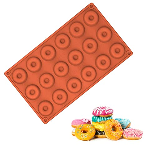 EQLEF® 18 Molde Rejillas Mini buñuelo redondo Buscuit Y molde de pastel para hornear de