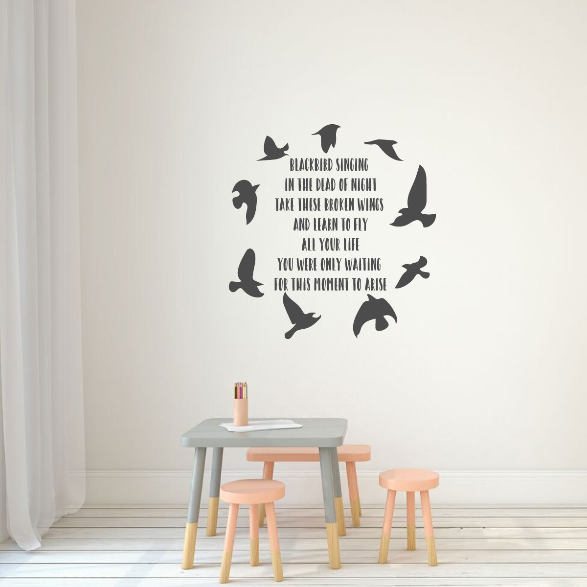Words and Phrases Take these broken wings and learn to fly ~ Wall Decal