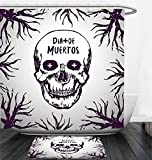 Nalahome Bath Suit: Showercurtain Bathrug Bathtowel Handtowel Mexican Decorations Quote with Spooky Skull Head among Tree Branches Calaveral Carnival Graphic Purple