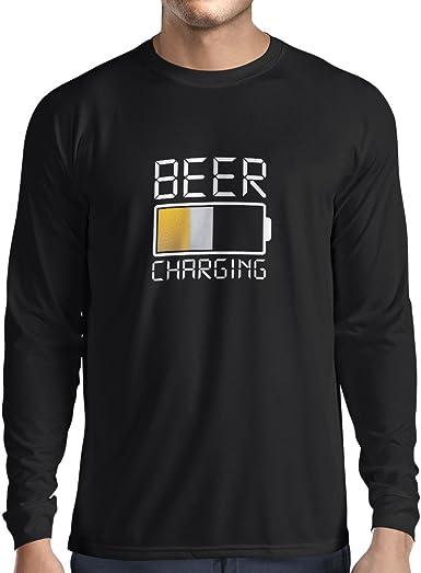 lepni.me Camiseta de Manga Larga para Hombre Carga de Cerveza, Citas Divertidas, Humor de Bar para Amantes de la Cerveza