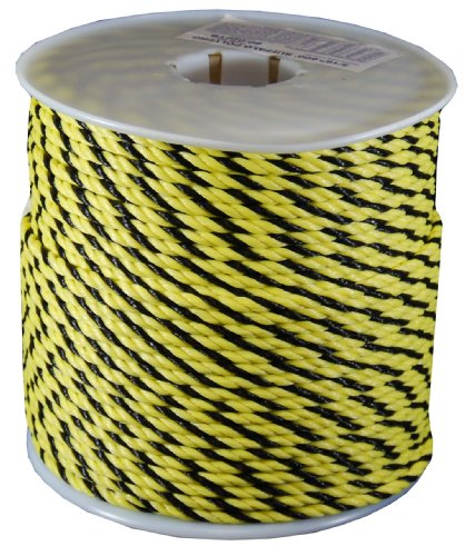 (T.W Evans Cordage 80-010YB 1/4 by 600-Feet Twisted Polypro Rope, Yellow and Black)