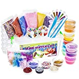 LightSpring DIY Slime Supplies Kit - 55 Pack for Girls & Boys |12 Colorful Clear Slime, 10 Bonus Containers, Plus Add Ins in Storage Case | Crystal Putty Toy Set | Water Based Stress Toys for Kids