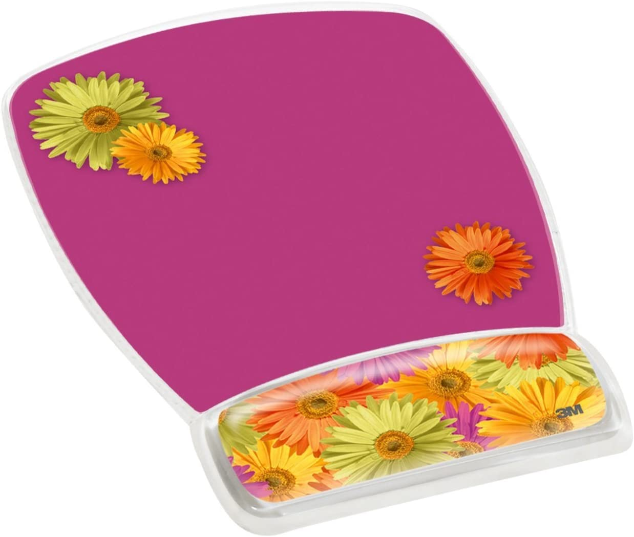 3M Precise Mouse Pad with Gel Wrist Rest, Soothing Gel Comfort with Durable, Easy to Clean Cover, Optical Mouse Performance, Fun Daisy Design (MW308DS)
