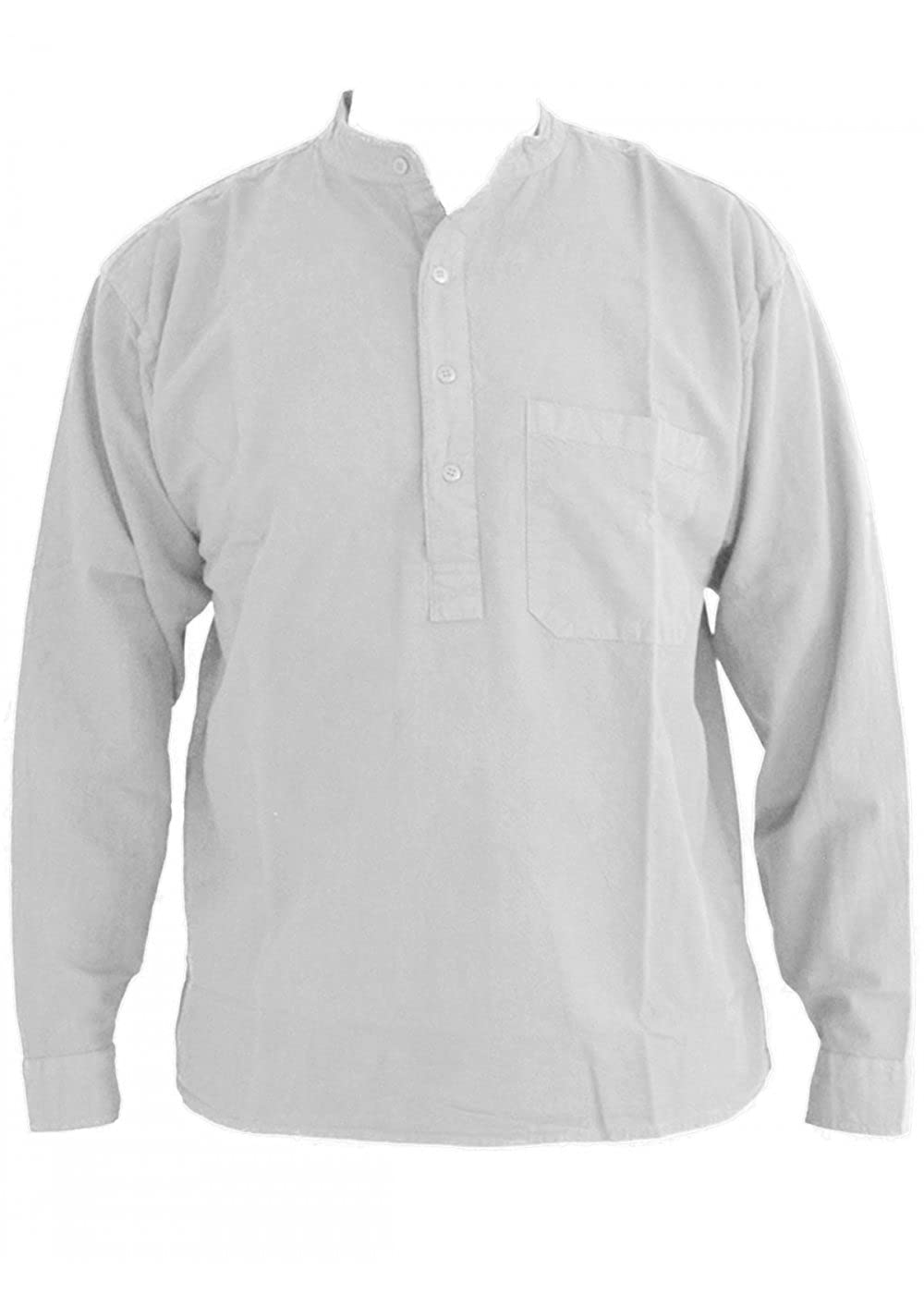 1920s Style Mens Shirts | Peaky Blinders Shirts and Collars White Grandad Collarless Shirt Cotton Sizes Small to 2XL £23.99 AT vintagedancer.com