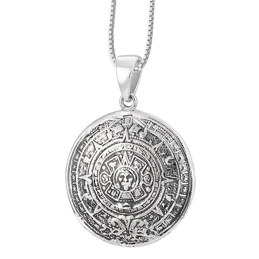 DarkDragon Anhänger Aztekenkalender Keltischer 925er Silber Schmuck – Für richtiges Handeln - mit Halskette Silberkette - 718 6615547878278-718