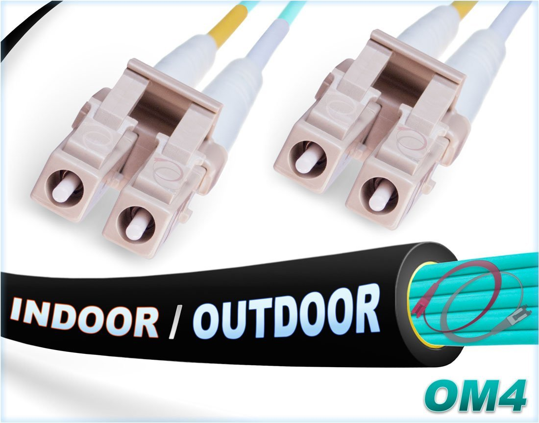 FiberCablesDirect - 50M OM4 LC LC Fiber Patch Cable | Indoor/Outdoor 100Gb Duplex 50/125 LC to LC Multimode Jumper 50 Meter (164ft) | Length Options: 0.5M-300M | 10/40/100g sfp+ 100gbase lc-lc ofnr