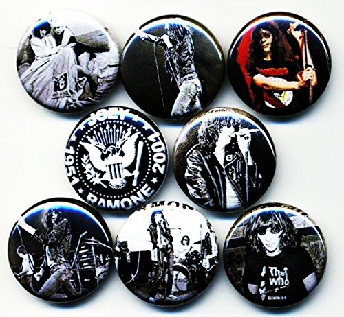 """Custom & Novelty {1"""" Inch} 8 Piece Pack, Mid-Size Button Pin-Back Badges for Unique Clothing Accents, Made of Rust-Proof Metal w/ Retro Oldies 70s Musician Rockstar Guy w/ Long Hair Style [Multicolor]"""