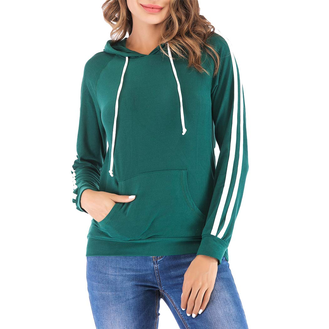 Eanklosco Basic Hoodie Womens Casual Long Sleeve Pullover Lightweight Drawstring Hooded Sweatshirt with Kangaroo Pocket (2XL, Green)