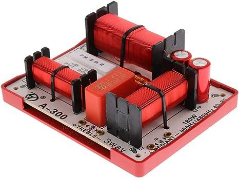 Baoblaze 3 Vías 180W Divisores de Frecuencia de Graves Agudos Doble Filtro de Audio Repuestos para Altavoces