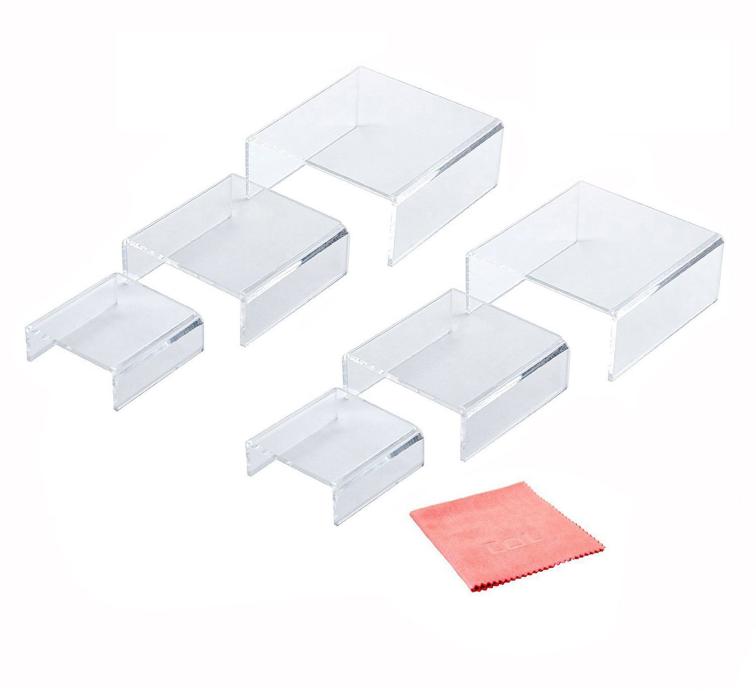 Combination of Life 2 Packs Low Profile Clear Acrylic Risers for Displays Set of 3