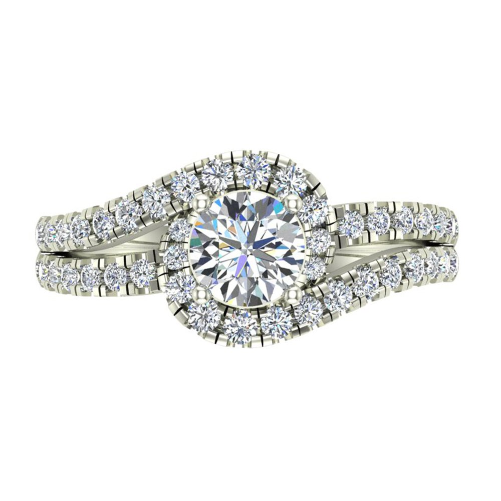 Ocean Wave Intertwined Diamond Engagement Ring for women 14K White Gold 1.32 Carat Total 3/4 ct Center Round Brilliant Cut (Ring Size 5.5) by Glitz Design (Image #4)