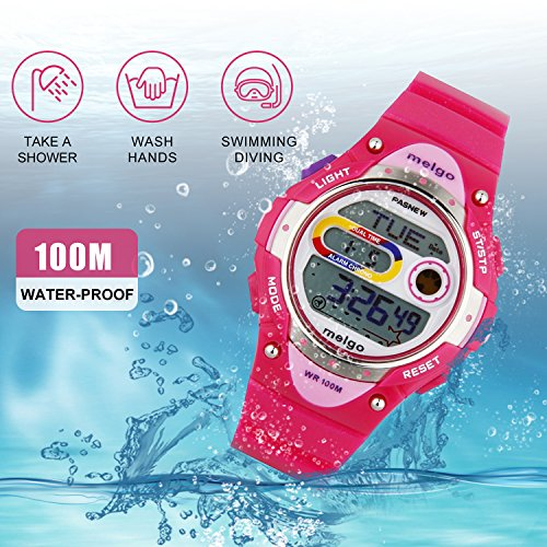 Jewtme Pasnew LED Waterproof 100m Sports Digital Watch for Children Girls Boys (Pink) by PASNEW (Image #1)
