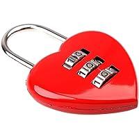 MagiDeal 3 Digit Code Lock Heart Padlock Luggage Bag Resettable Password Red Cute