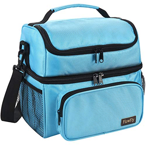FlowFly Insulated Lunch Bag Adult Thermal Lunch Box Large Tote Double Layer Cooler for Men Women With Adjustable Strap Front Pocket and Mesh Side Pockets for Water bottle holder Blue ()