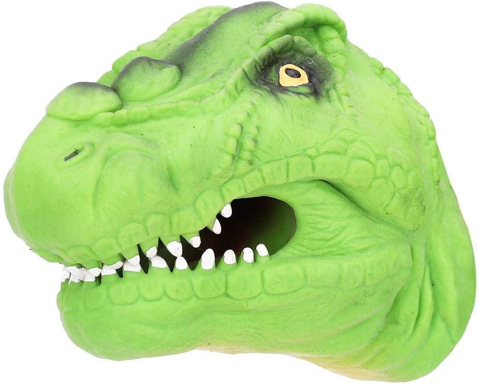 Tnfeeon Juguetes de Marionetas de Mano de Dinosaurio, Guantes de Cabeza de Dinosaurio simulados Suaves Juguete Marioneta de Mano de Goma Juego de Roles para Niños (Verde)