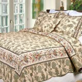 Cozy Line Home Fashions Florence French Country Quilt Bedding Set, Cream Beige Floral Printed Pure Cotton Reversible All Season Coverlet Bedspread Gifts for Her/Women (Florence, King - 3 piece)