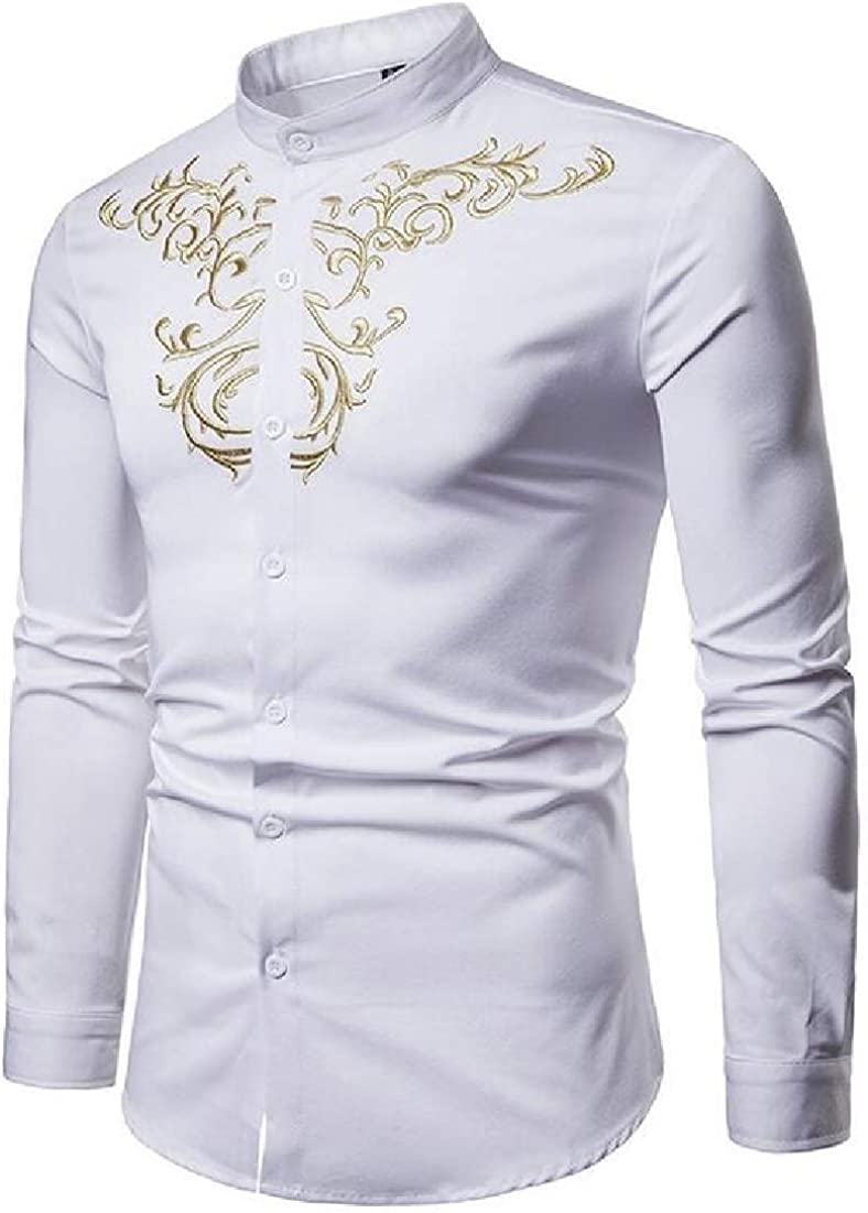 BYWX Men Long Sleeve Plus Size Leisure Court Style Button Down Shirts Tops