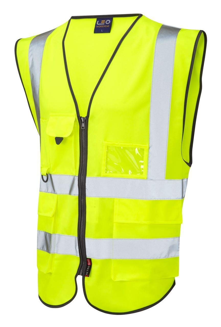 Leo Workwear Lynton W11 Mens Hi Vis Waistcoat High Visibility Yellow Large, Yellow