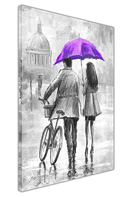 Couple holding purple umbrella black and white framed canvas wall pictures home decoration art prints size