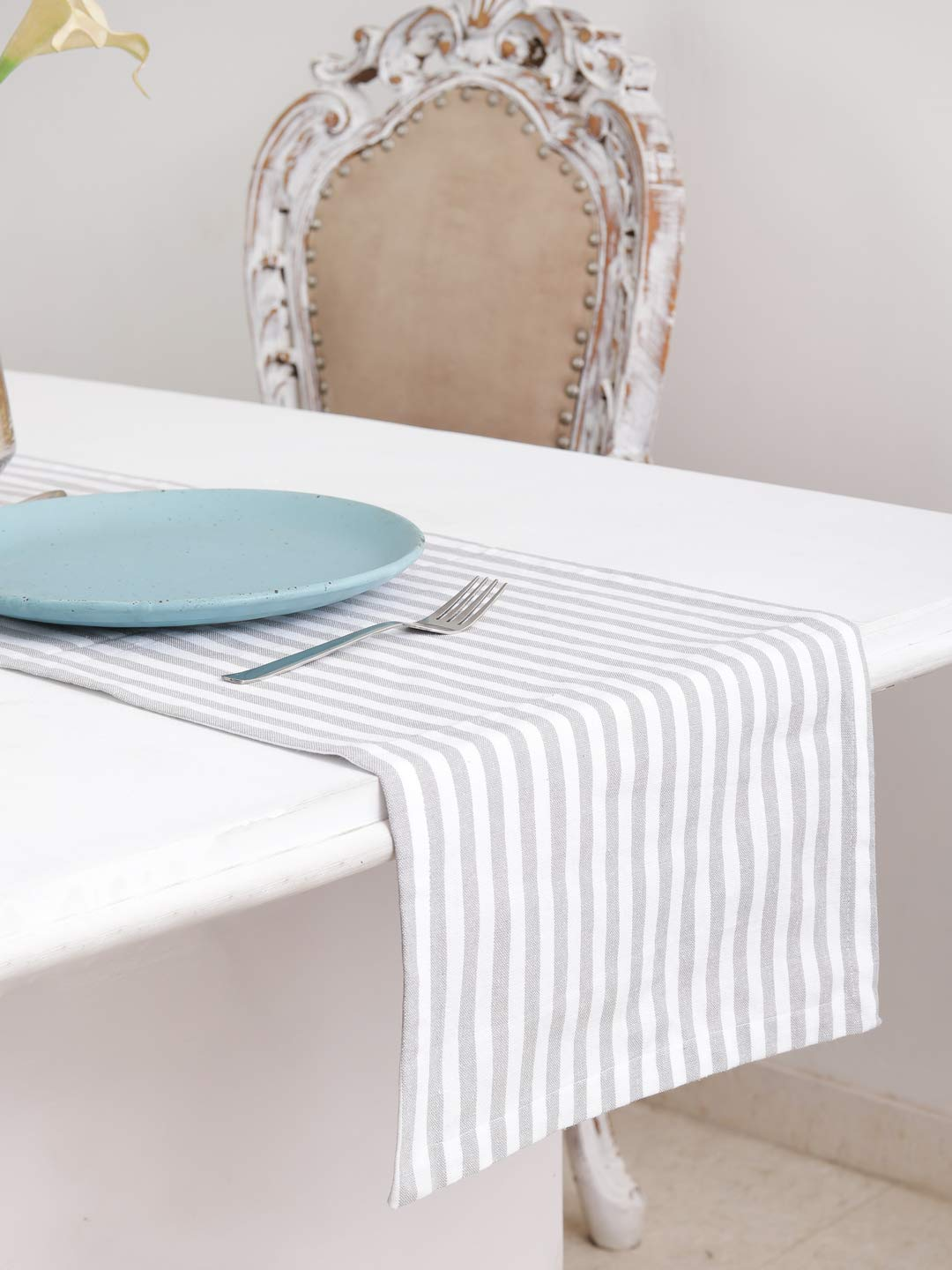 "Cotton Table Runner (13 X 72 Inches), Grey & White Stripe - 1"" Hemmed With Mitered Corner,Perfect For All Seasons And Holidays"