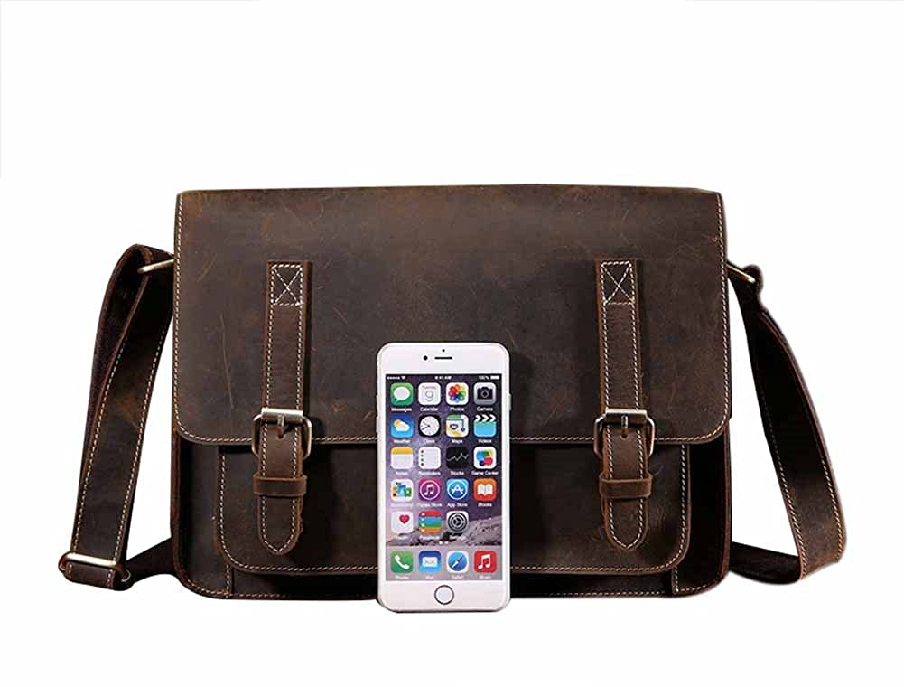 Genda 2Archer Retro Leather Messenger Bag Vintage College Bag Office Bag