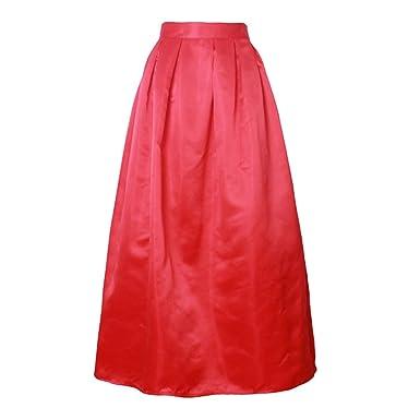 20393a0be1 MRxcff Long Skirt Women 100Cm Casual Ball Gown Fashion Satin Retro ...