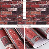 HOMFA Wallpaper 28.52 square feet, Self-adhesive Easy to Peel and Stick Contact Paper Removable and Waterproof for Livingroom, Bedroom, Home Wall Decor, Faux Brick, 20.9'' x 16.4 feet