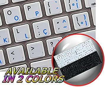 Portuguese-Brazil-English Keyboard Stickers with Non Transparent Black Background for Computer LAPTOPS Desktop