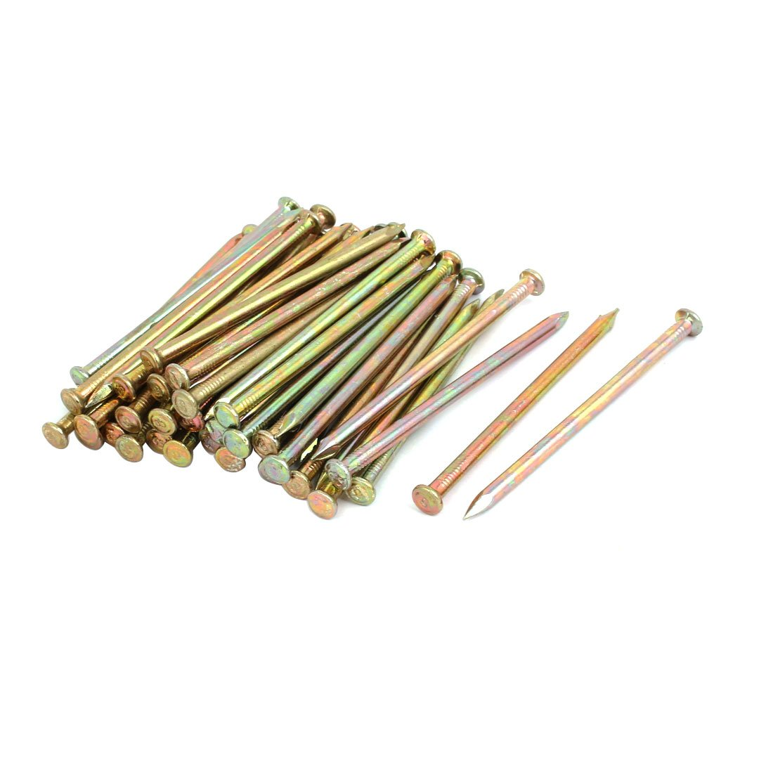 uxcell 50pcs 100mm Length Steel Point Tip Cement Nail Bronze Tone