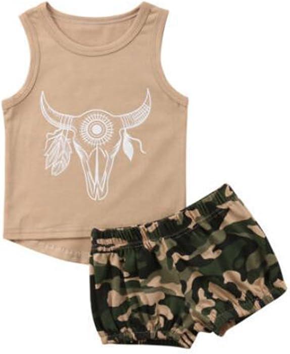 8dd0c395fad5 Baby Kid Boy Cattle Skull Khaki Vest Tops + Camouflage Shorts Summer  Clothes Set (2