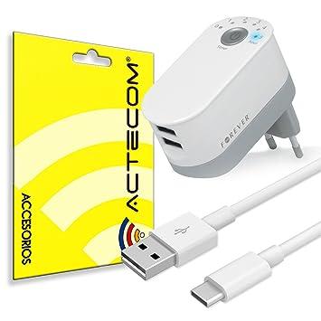 ACTECOM@ Cargador Pared Doble USB 2.2A con Temporizador + Cable USB Tipo C Micro