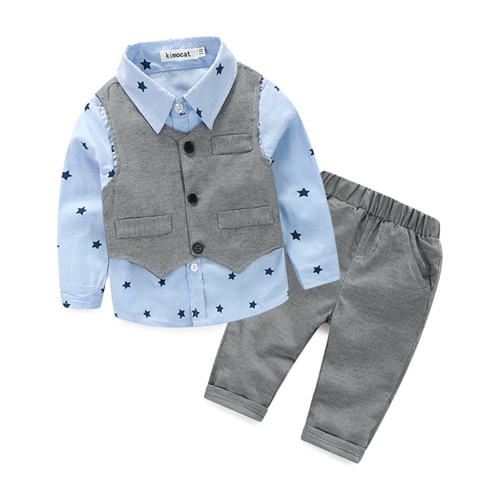 Kimocat Baby Boys' Clothes Set Gentleman Cute Long Sleev +Vest+Pants Outfits (Gray, 0-6month(70#))