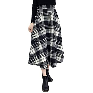 235c9c57a1 Romacci Women's Elastic High Waisted Plaid Skirt Spring Fall Winter Flare A-line  Skirts Black