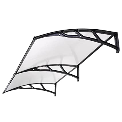 Black Classic Door Canopy Awning Transparent Polycarbonate Window Shelter  Front Door Hotel Porch