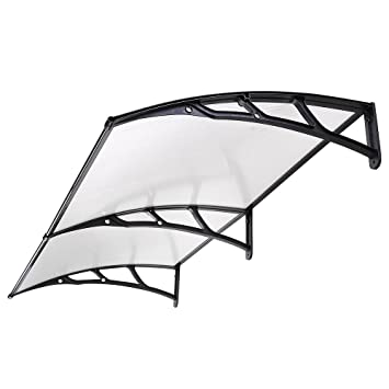 Black Classic Door Canopy Awning Transparent Polycarbonate Window Shelter Front Hotel Porch