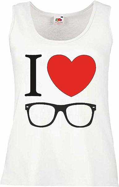 Camisa del músculo Tank Top Amo Amor con Receta Gafas Que los vidrios del Friki Gafas Nerd Gafas de Lentes Modificado Montura de Gafas Nerdbrille GEEKBRILLE Manga en Blanco: Amazon.es: Ropa y
