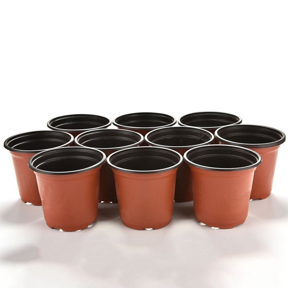 KINGLAKE 50 Pcs 6'' Plastic Plants Nursery Seedlings Pot/Pots Flower Plant Container Seed Starting Pots