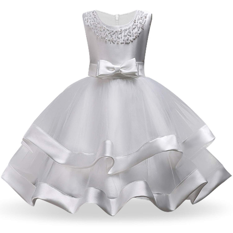 Kids Dresses for Girls Tutu Princess Children Evening Party Dresses Flower Girls Wedding Dress 3 4 5 6 7 8 Year,White,5